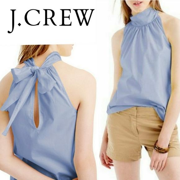 1840a209428 J. Crew Tall Tie-Neck Top In Oxford Cotton 14 Tall.  M_5b5dfd35aa8770efab0150b8